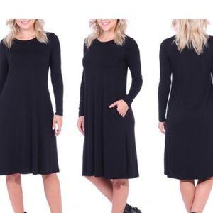 664f883b34 Popana Dresses - Below The Knee Long Sleeve Swing Dress With Pocket